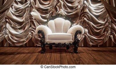 rideau, chaise, étape, théâtre, luxueux