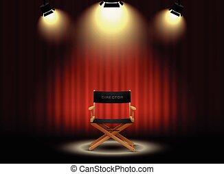 rideau, chaise, director's, projecteur, fond