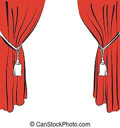 rideau, cordon, rouges, classique