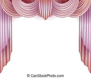 rideau, derrière, fond blanc