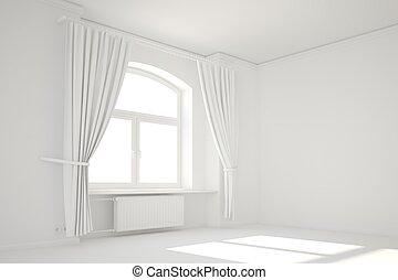 rideau, fenêtre, blanche salle, vide