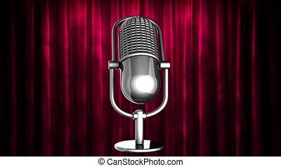 rideau, microphone, tourner, boucle