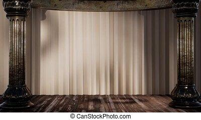 rideau, ombre, lumière, étape