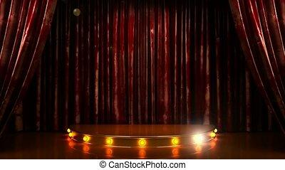 rideau, podium, rouges, étape
