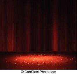 rideau, projecteur, rouges