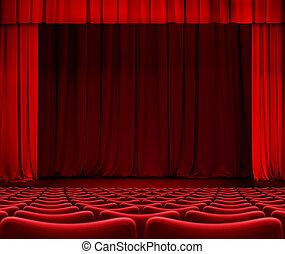 rideau rouge, sur, théâtre, étape, à, sièges, 3d, illustration