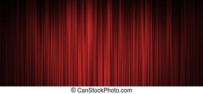 rideau, rouges, fond, étape