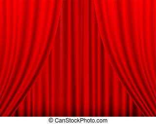 rideau, rouges, théâtre