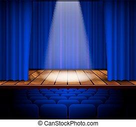 rideau, théâtre, rouges, étape