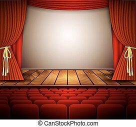 rideau, théâtre, rouges, seats., étape