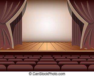 rideau, théâtre, seats., étape