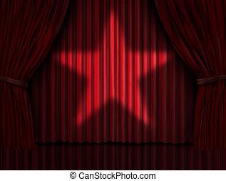 rideaux, étoile, rouges