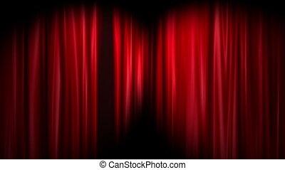 rideaux, blanc rouge, fond, ouvert
