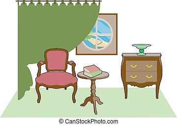 rideaux, chaise, vert