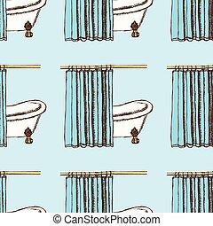 rideaux, croquis, bain, style, vendange