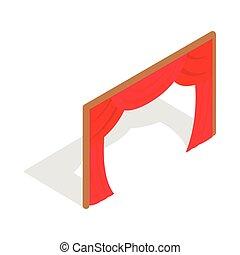 rideaux, isométrique, style, icône, étape, 3d