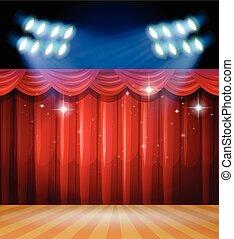 rideaux, lumière, scène, fond, rouges, étape