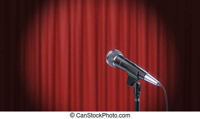 rideaux, microphone, arrière-plan rouge