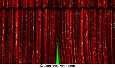rideaux, ouvert, close., rouges
