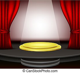 rideaux, podium, arrière-plan rouge, étape