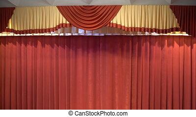 rideaux, rideau étape, rouges, theater.