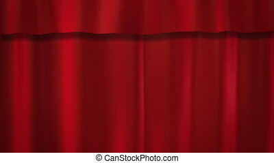 rideaux, rouges, étape