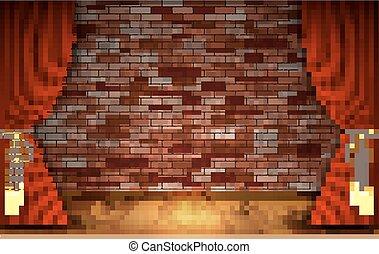 rideaux rouges, mur, brique