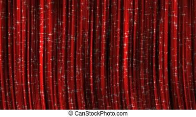 rideaux, rouges, particles.