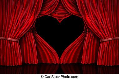 rideaux, saint-valentin, rouges