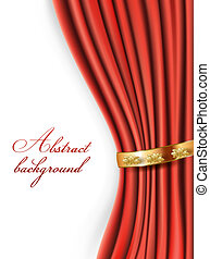 rideaux, satin, fond, or, rouges