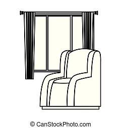 rideaux, sofa, maison, fenêtre, noir, fauteuil, blanc