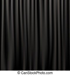 rideaux, soie, noir