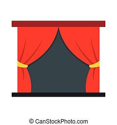 rideaux, style, plat, icône, rouges, étape