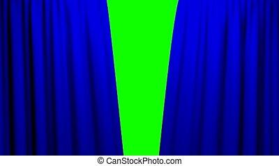rideaux, théâtre, cinéma, écran, ouverture, vert, fermer, étape