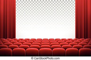 rideaux, théâtre, cinéma, chaises, écran, blanc rouge
