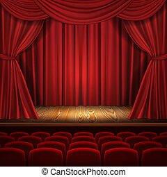 rideaux, théâtre, classique, concept, scène, vecteur