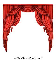 rideaux, théâtre, réaliste, vecteur, rouges, étape