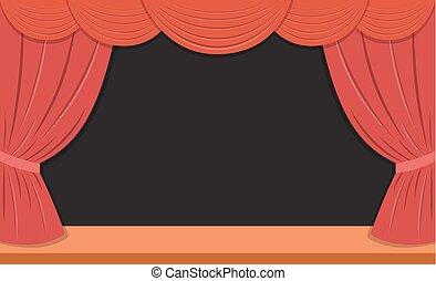 rideaux, théâtre, rouges, étape
