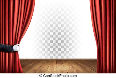 rideaux, théâtre, transparent, vector., arrière-plan.
