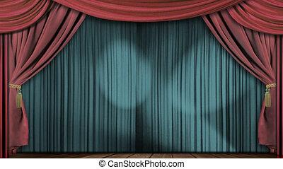 rideaux, tissu, théâtre, gris