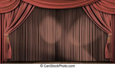 rideaux, velours, tissu, théâtre, rouges