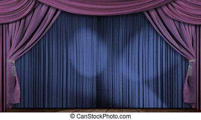 rideaux, velours, tissu, théâtre