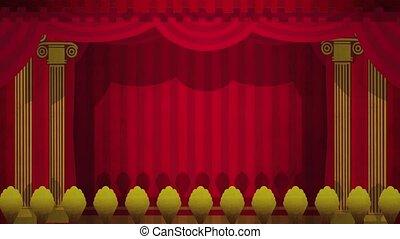rideaux, vert, théâtre, ouverture