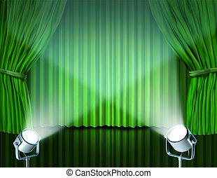 rideaux, vert, velours, projecteurs, cinéma