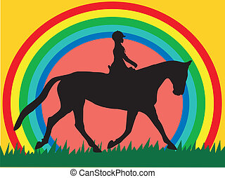rider and horse - vector
