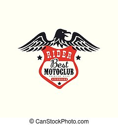Rider, best motoclub logo, premium ride design element for motor or biker club, motorcycle repair shop, print for clothing vector Illustration isolated on a white background.