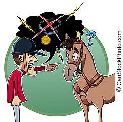 Rider blames his horse - Cartoon-style illustration: an ...