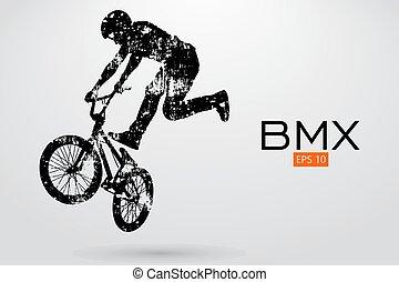 rider., bmx, vector, silueta, ilustración