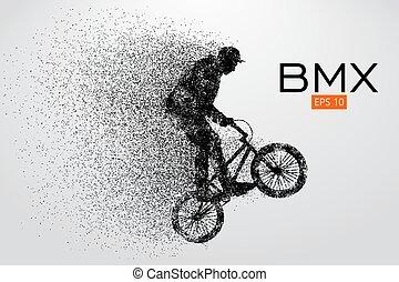 rider., bmx, wektor, sylwetka, ilustracja