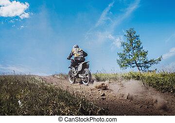 rider going uphill